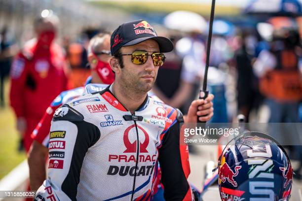 Johann Zarco of France and Pramac Racing at the starting grid before the race at Circuito de Jerez on May 02, 2021 in Jerez de la Frontera, Spain.