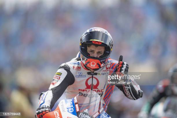 Johann Zarco of France and Pramac Racing celebrates the Independent team victory during the MotoGP race during the MotoGP of Netherlands - Race at TT...
