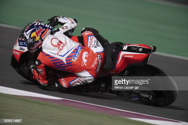 Johann Zarco of France and Pramac Racing rounds the bend during the MotoGP of Qatar - Free Practice at Losail Circuit on March 26, 2021 in Doha,...