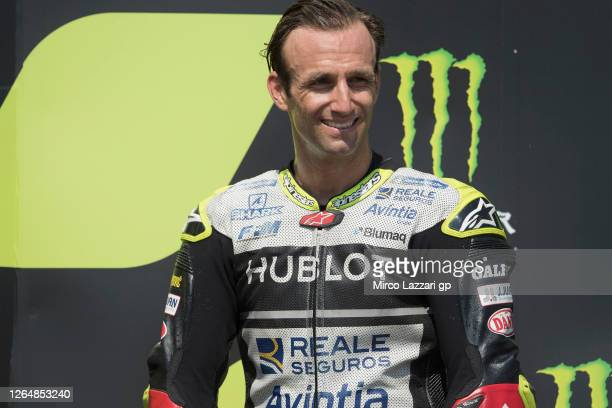 Johann Zarco of France and Reale Avintia Racing celebrates the third place on the podium at the end of the MotoGP race during the MotoGP Of Czech...