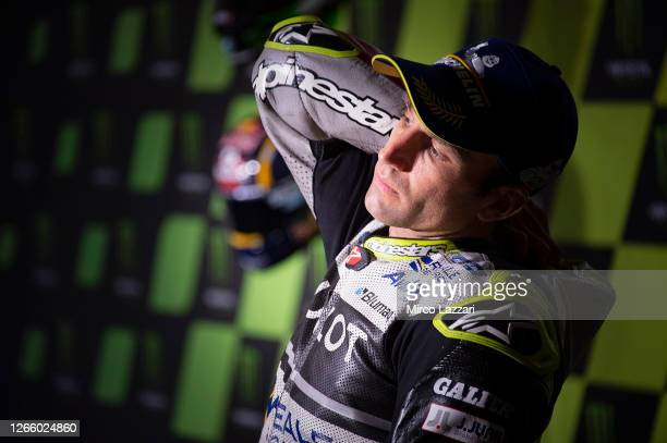 Johann Zarco of France and Reale Avintia Racing looks on during the press conference at the end of the MotoGP race during the MotoGP Of Czech...
