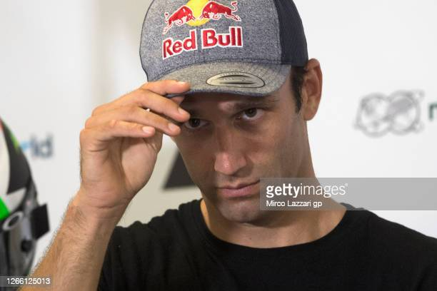 Johann Zarco of France and Reale Avintia Racing looks on during the press conference pre-event during the MotoGP Of Austria - Previews at Red Bull...