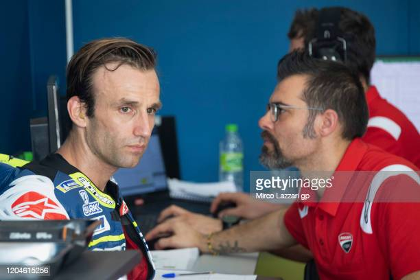 Johann Zarco of France and Reale Avintia Racing looks on in box during the MotoGP Pre-Season Tests at Sepang Circuit on February 07, 2020 in Kuala...