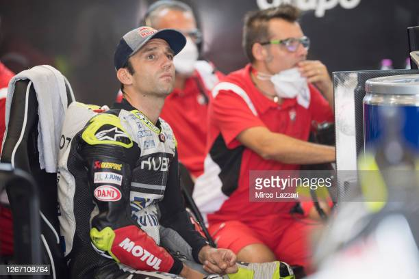 Johann Zarco of France and Reale Avintia Racing looks on in box during the MotoGP Of Austria - Free Practice at Red Bull Ring on August 14, 2020 in...