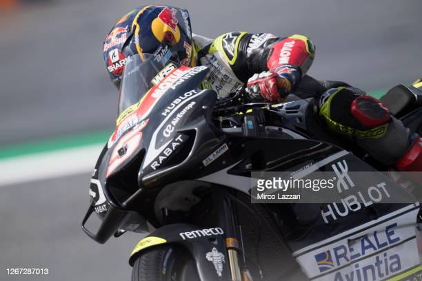 Johann Zarco of France and Reale Avintia Racing rounds the bend during the MotoGP Of Austria - Qualifying at Red Bull Ring on August 15, 2020 in...