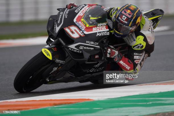 Johann Zarco of France and Reale Avintia Racing rounds the bend during the free practice for the MotoGP of Europe at Comunitat Valenciana Ricardo...