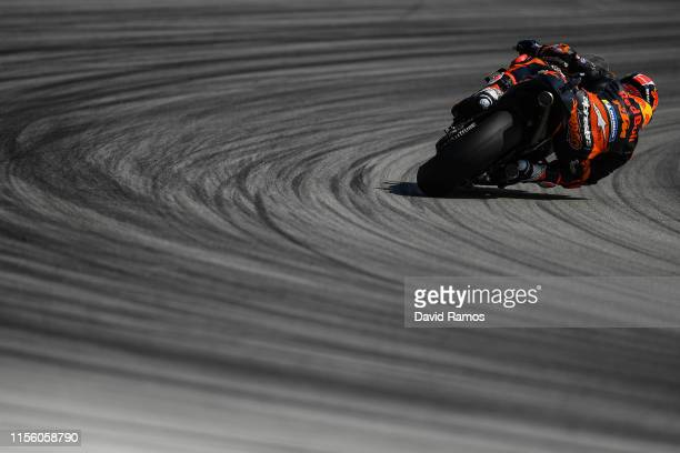 Johann Zarco of France and Red Bull KTM Factory Racing rides during the third MotoGP free practice session ahead of MotoGP Gran Premi Monster Energy...