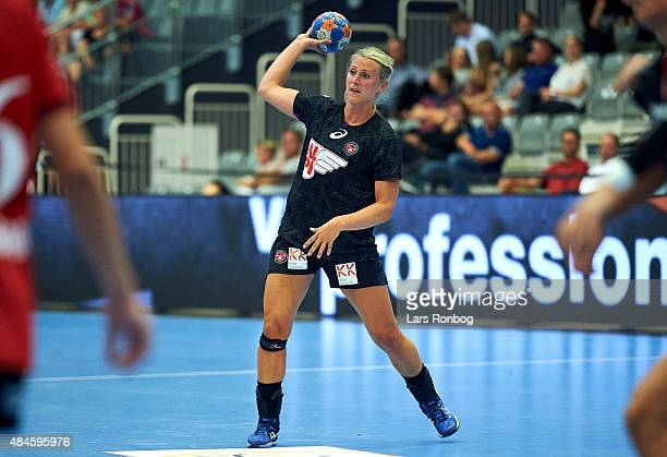Johanna Ahlm of FCM Haandbold in action during the Danish Womens Super Cup match between FCM Handhold and Team Esbjerg at Skjern Bank Arena on August...