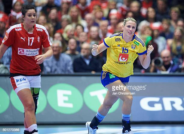 Johanna Ahlm of Sweden celebrates after goal during the 22nd IHF Women's Handball World Championship Eight Final match between Denmark and Sweden in...