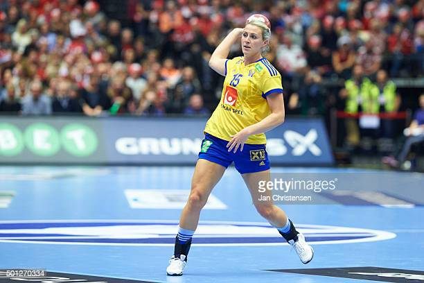 Johanna Ahlm of Sweden in action during the 22nd IHF Women's Handball World Championship Eight Final match between Denmark and Sweden in Jyske Bank...