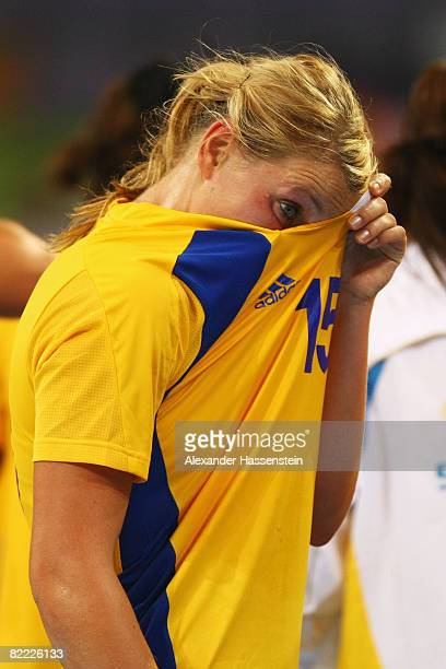 Johanna Ahlm of Sweden looks dejected after defaet in the handball match between Hungary and Sweden held at the Olympic Sports Center Gymnasium...
