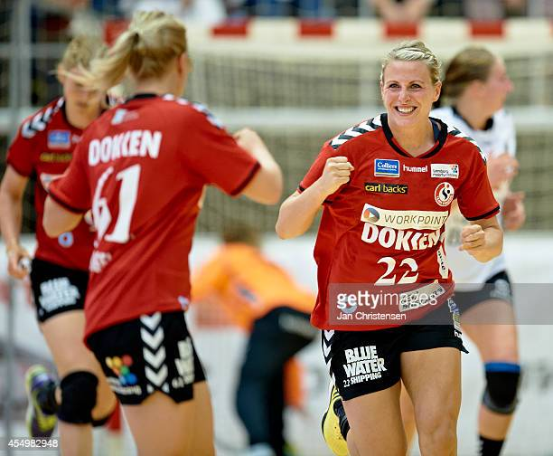Johanna Ahlm of Team Esbjerg celebrate after goal during the Danish Handball Liga match between Team Tvis Holstebro and Team Esbjerg in Grakjar Arena...