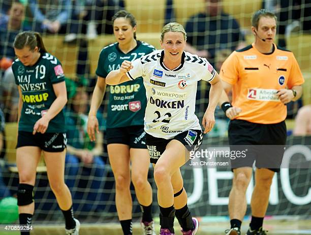 Johanna Ahlm of Team Esbjerg celebrate after goal during the Danish Boxer Dameligaen 1 semifinal match between Viborg HK and Team Esbjerg in Viborg...