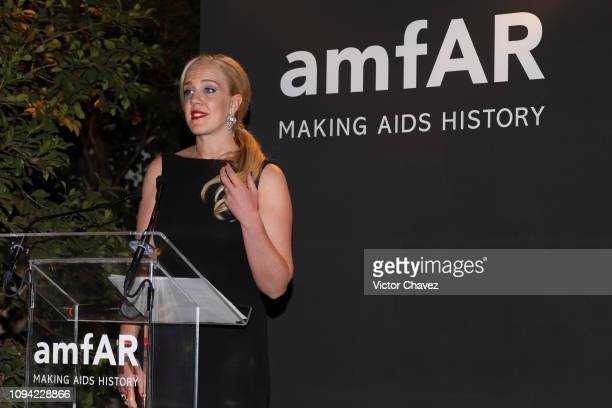 Johanna Bertilsson speaks during the amfAR gala dinner at the house of collector and museum patron Eugenio López on February 5 2019 in Mexico City...