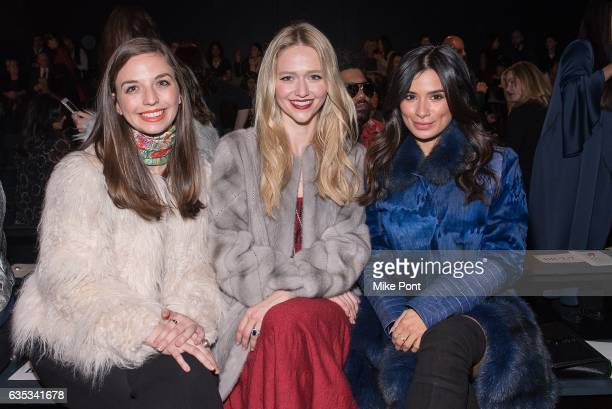 Johanna Braddy and Diane Guerrero attend the Dennis Basso collection during New York Fashion Week The Shows at Gallery 1 Skylight Clarkson Sq on...