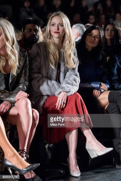 Johanna Braddy attends the Dennis Basso collection during New York Fashion Week The Shows at Gallery 1 Skylight Clarkson Sq on February 14 2017 in...