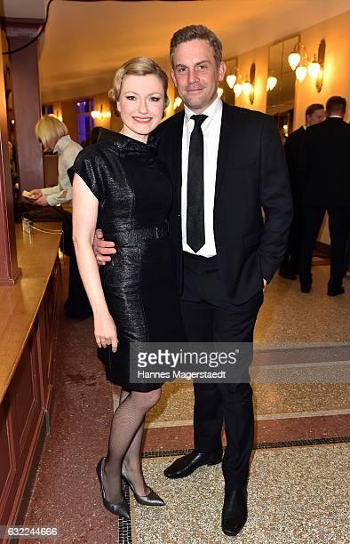 Johanna Christine Gehlen and Sebastian Bezzel attend the Bayerischer Filmpreis 2017 at Prinzregententheater on January 20 2017 in Munich Germany