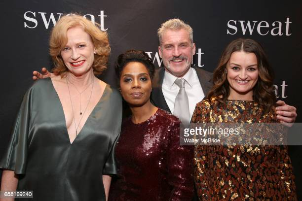 Johanna Day Michelle Wilson James Colby and Alison Wright attend the after party for the Broadway Opening Night of 'Sweat' at Brasserie 8 1/2 on...