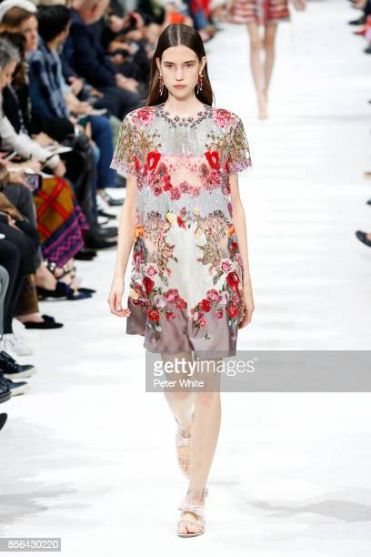 Johanna Defant walks the runway during the Valentino show as part of the Paris Fashion Week Womenswear Spring/Summer 2018 on October 1 2017 in Paris...