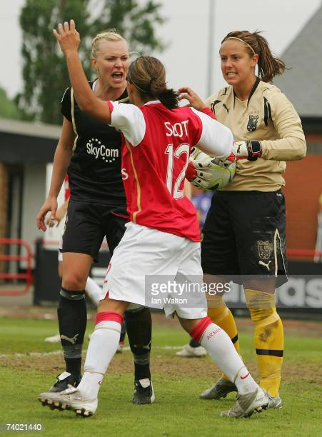 Johanna Frisk of Umea IK and Alex Scott of Arsenal look to disagree during the Womens UEFA Cup Final 2nd Leg match between Arsenal and Umea IK at...