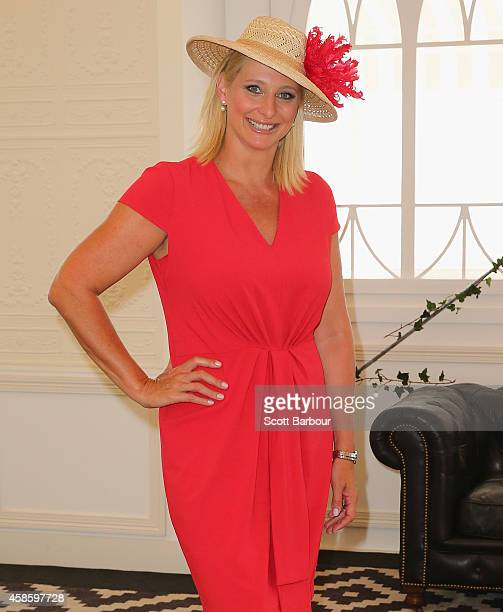 Johanna Griggs arrives at the Emirates Marquee on Stakes Day at Flemington Racecourse on November 8 2014 in Melbourne Australia
