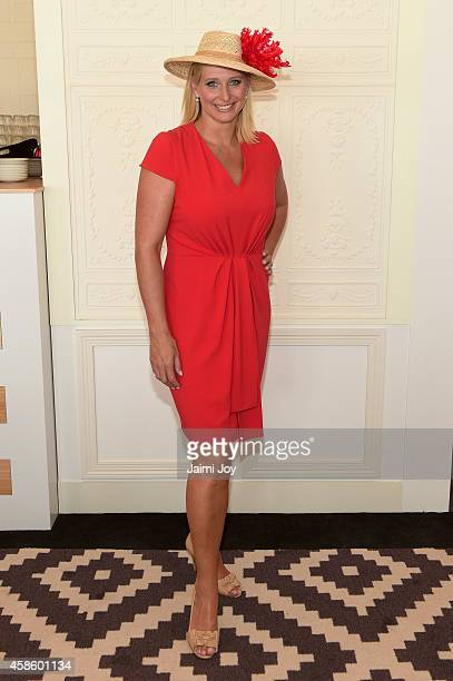 Johanna Griggs at the Emirates Marquee on Stakes Day at Flemington Racecourse on November 8 2014 in Melbourne Australia