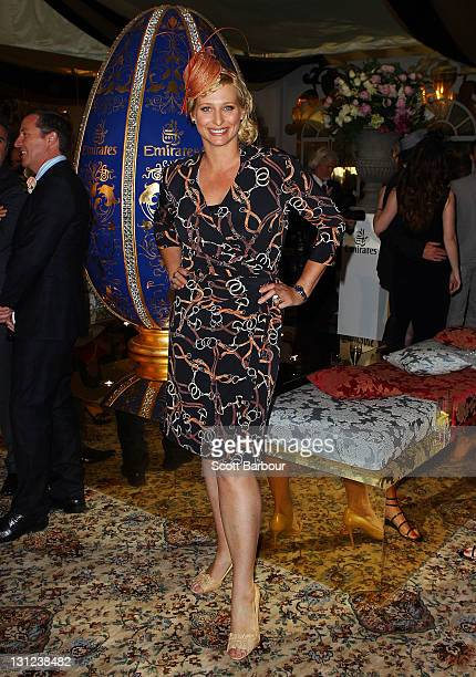 Johanna Griggs attends the Emirates marquee during Crown Oaks Day at Flemington Racecourse on November 3 2011 in Melbourne Australia