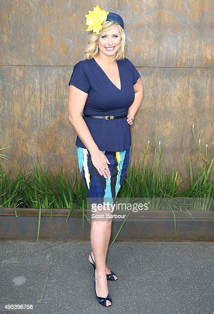 Johanna Griggs poses at the Emirates Marquee on Melbourne Cup Day at Flemington Racecourse on November 3 2015 in Melbourne Australia