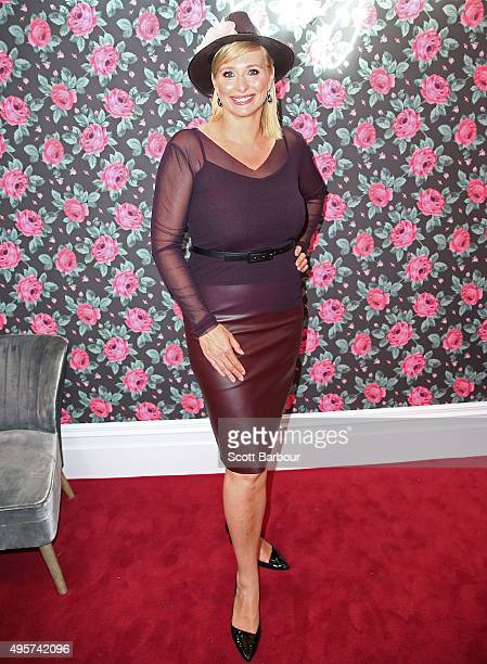 Johanna Griggs poses at the Emirates Marquee on Oaks Day at Flemington Racecourse on November 5 2015 in Melbourne Australia