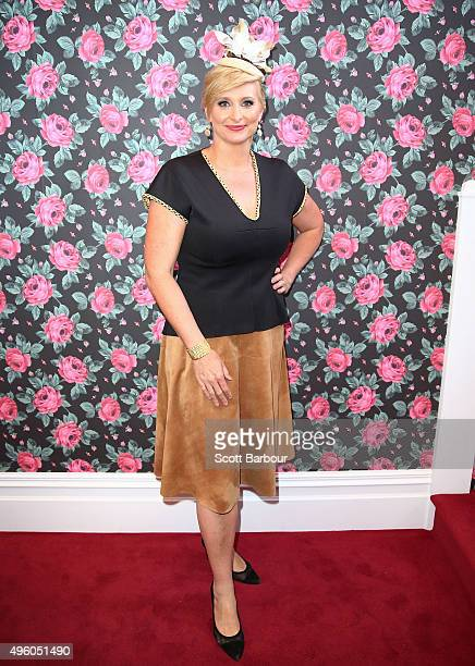 Johanna Griggs poses at the Emirates Marquee on Stakes Day at Flemington Racecourse on November 7 2015 in Melbourne Australia