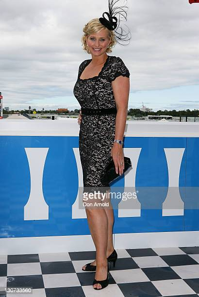 Johanna Griggs poses during Derby Day at Flemington Racecourse on October 29 2011 in Melbourne Australia
