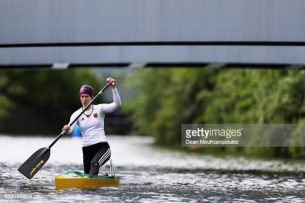 Johanna Handrick of Germany looks on after she competes in the C1 W 200 Final during Day 2 of the ICF Canoe Sprint World Cup 1 held at Sportpark...