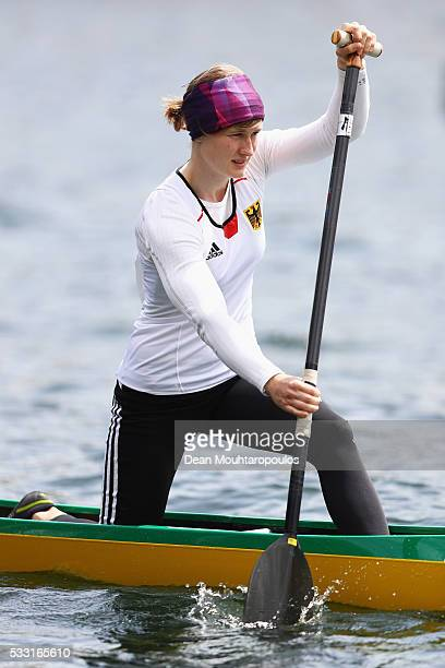 Johanna Handrick of Germany looks on before she competes in the C1 W 200 Final during Day 2 of the ICF Canoe Sprint World Cup 1 held at Sportpark...