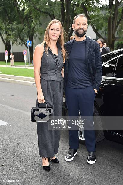 Johanna Hauksdottir and Fabio Volo arrive at the Giorgio Armani show during Milan Fashion Week Spring/Summer 2017 on September 23 2016 in Milan Italy