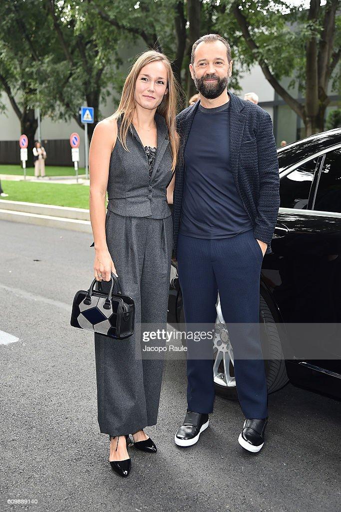Johanna Hauksdottir and Fabio Volo arrive at the Giorgio Armani show during Milan Fashion Week Spring/Summer 2017 on September 23, 2016 in Milan, Italy.