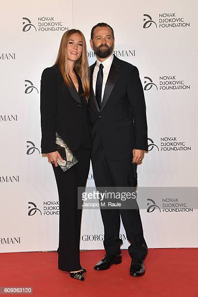 Johanna Hauksdottir and Fabio Volo attend the Milano Gala Dinner benefitting the Novak Djokovic Foundation presented by Giorgio Armani at Castello...