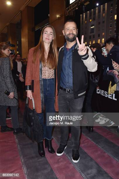 Johanna Hauksdottir and Fabio Volo attend The New Bomber Presentation at the Diesel Store on March 14 2017 in Milan Italy
