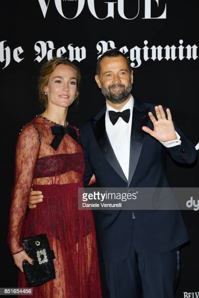 Johanna Hauksdottir and Fabio Volo attend the Vogue Italia 'The New Beginning' Party during Milan Fashion Week Spring/Summer 2018 on September 22...