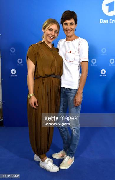 Johanna Ingelfinger and Nina Kunzendorf pose during the photo call for 'Das Verschwinden' at the Hotel Atlantic on August 31 2017 in Hamburg Germany