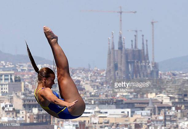 Johanna Johansson of Sweden competes in the preliminary round of The Women's 1m Springboard at The Piscina Municipal De Montjuic on day two of the...