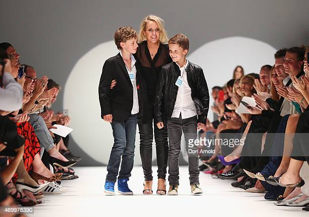 Johanna Johnson thanks guests following the Johanna Johnson Presented By Capitol Grand show at Mercedes-Benz Fashion Week Australia 2015 at...