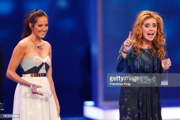 Johanna Klum and Palina Rojinski attend the Deutscher Fernsehpreis 2013 Show at Coloneum on October 02 2013 in Cologne Germany The show will be aired...