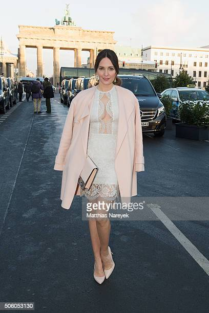 Johanna Klum attends the Ewa Herzog show during the MercedesBenz Fashion Week Berlin Autumn/Winter 2016 at Brandenburg Gate on January 21 2016 in...