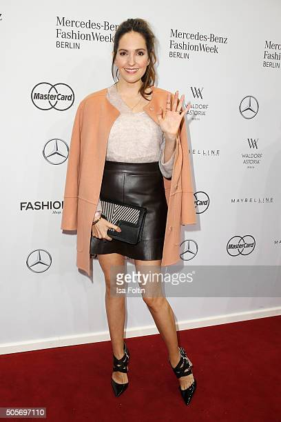 Johanna Klum attends the Marc Cain show during the MercedesBenz Fashion Week Berlin Autumn/Winter 2016 at Brandenburg Gate on January 19 2016 in...