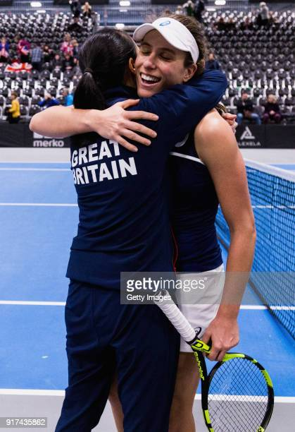 Johanna Konta and Anne Keothavong Great Britain head coach embrace following the Europe/Africa Promotional PlayOff Semi Final match of the Fed Cup by...