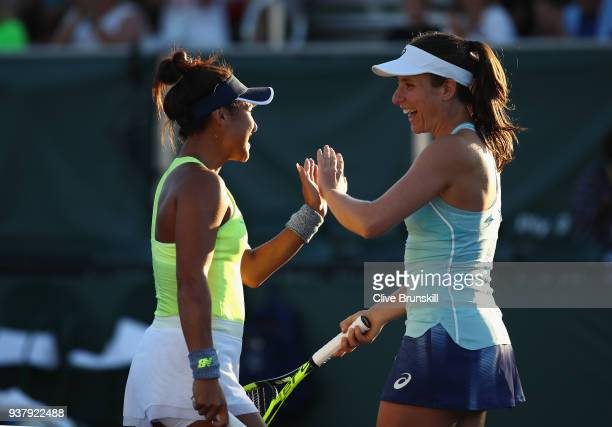 Johanna Konta and Heather Watson of Great Britain during heir second round doubles match against Ekaterina Makarova and Elena Vesnina of Russia...