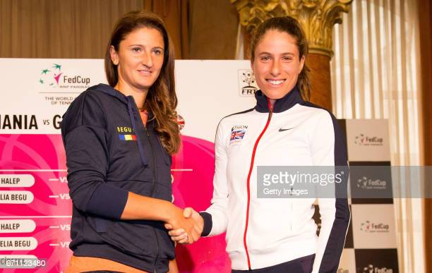 Johanna Konta and Irina-Camelia Begu pose for photos following a Great Britain Fed Cup training session at Tenis Club IDU on April 21, 2017 in...
