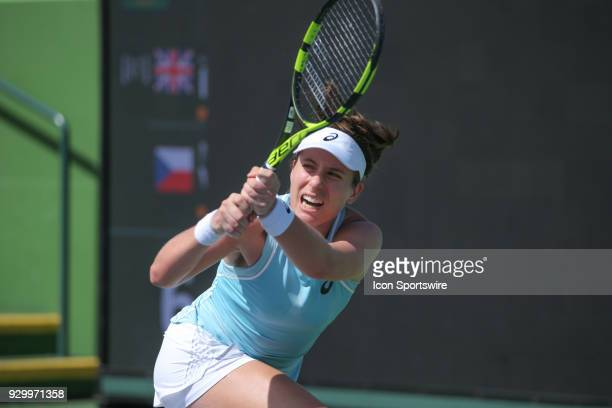 Johanna Konta hits a backhand during the BNP Paribas Open on March 9 2018 at the Indian Wells Tennis Garden in Indian Wells CA