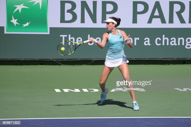 Johanna Konta hits a forehand during the BNP Paribas Open on March 9 2018 at the Indian Wells Tennis Garden in Indian Wells CA