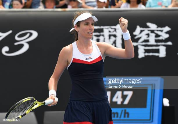 Johanna Konta of Britain after winning her first round match against Ajla Tomljanovic of Australia on day two of the 2019 Australian Open at...